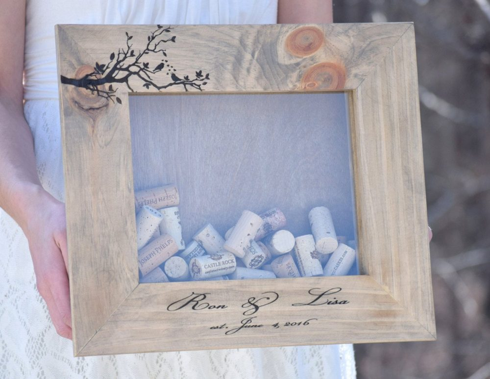 Personalized Wedding Guest Book Alternative Wine Cork Holder Shadow Box