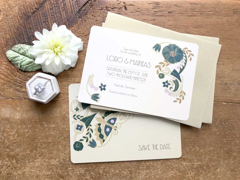 Save The Date Cards, Greenery Wedding, Art Deco Date, Floral Vintage Tropical Wedding - Jade Mandevilla