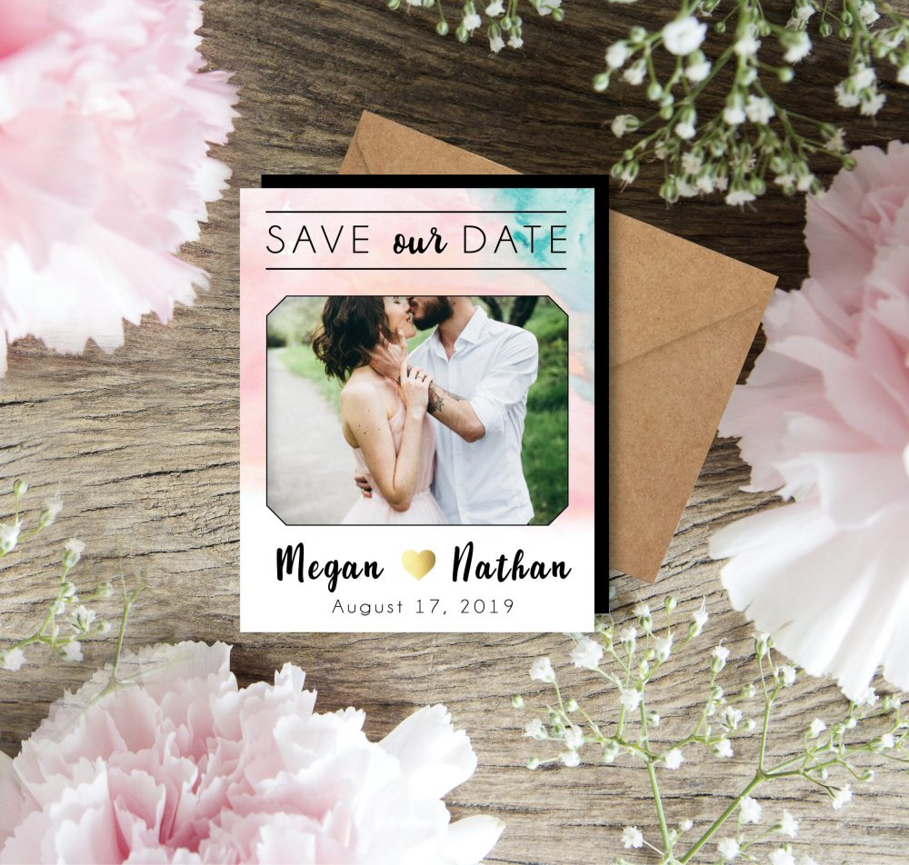 Sweet Watercolor Save The Date Magnets, Pastel Wedding, Photo Magnets, Watercolor Invite, Engagement, Watercolor, Custom Magnet + Envelopes