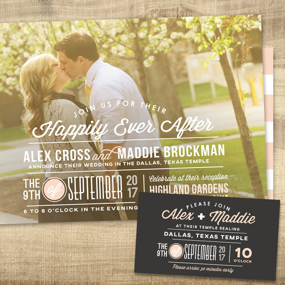 Lds Wedding Invitation, Photo Custom Typography Invitation & Insert - Happily Ever After