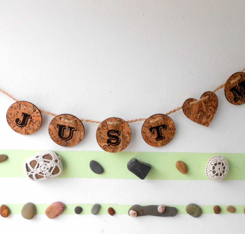 Just Married Banner - Rustic Wedding Sign Cork Garland Decoration Eco Friendly Decor