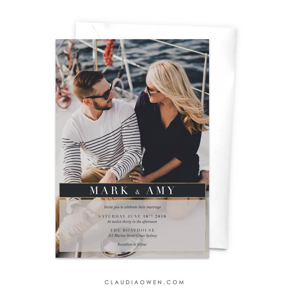 Wedding Photo Invitation Rehearsal Dinner Invite Modern Minimalist Thank You Card, Save The Date Engagement Party