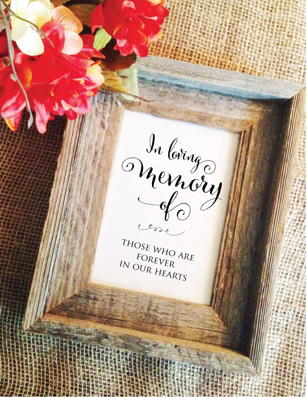 Memorial Table Sign - Wedding Memory Sign Wedding Remembrance Table in Loving Memory Sign | Frame Not Included