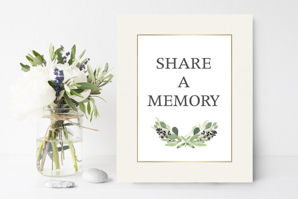 Watercolor Share A Memory Sign, Greenery Funeral Memories Memorial Sign Ideas Ideas Celebration Of Life 8 X 10