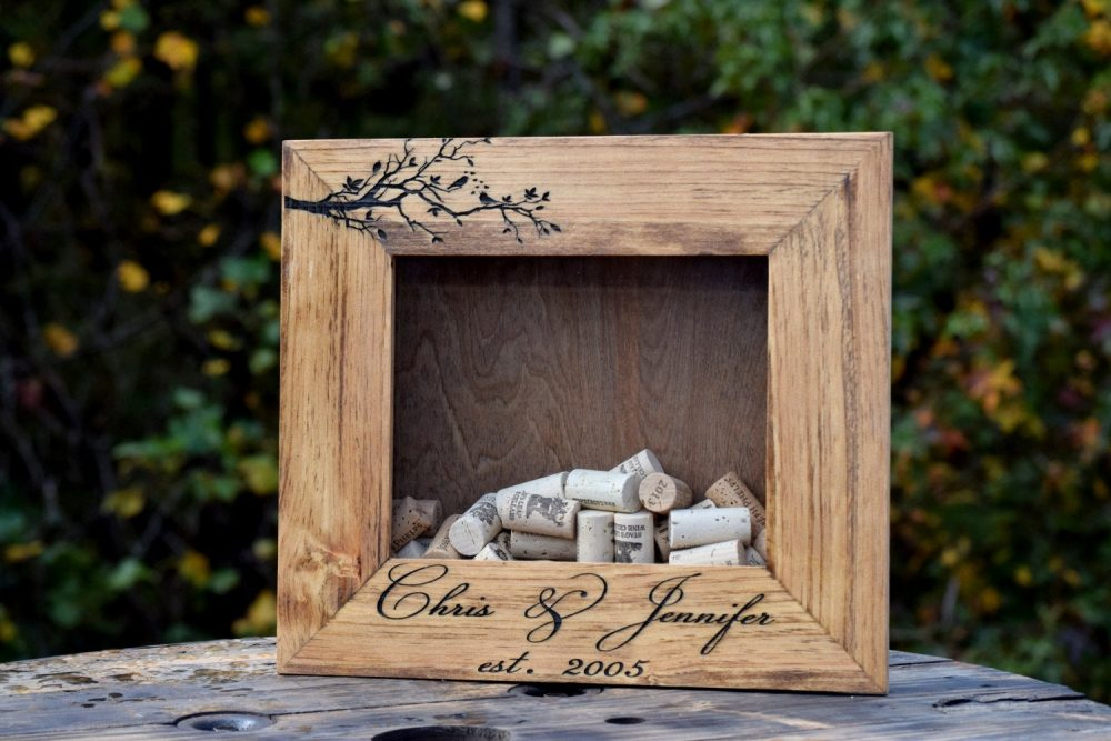 Wine Cork Shadow Box - Personalized Holder Display Bottle Cap Keeper