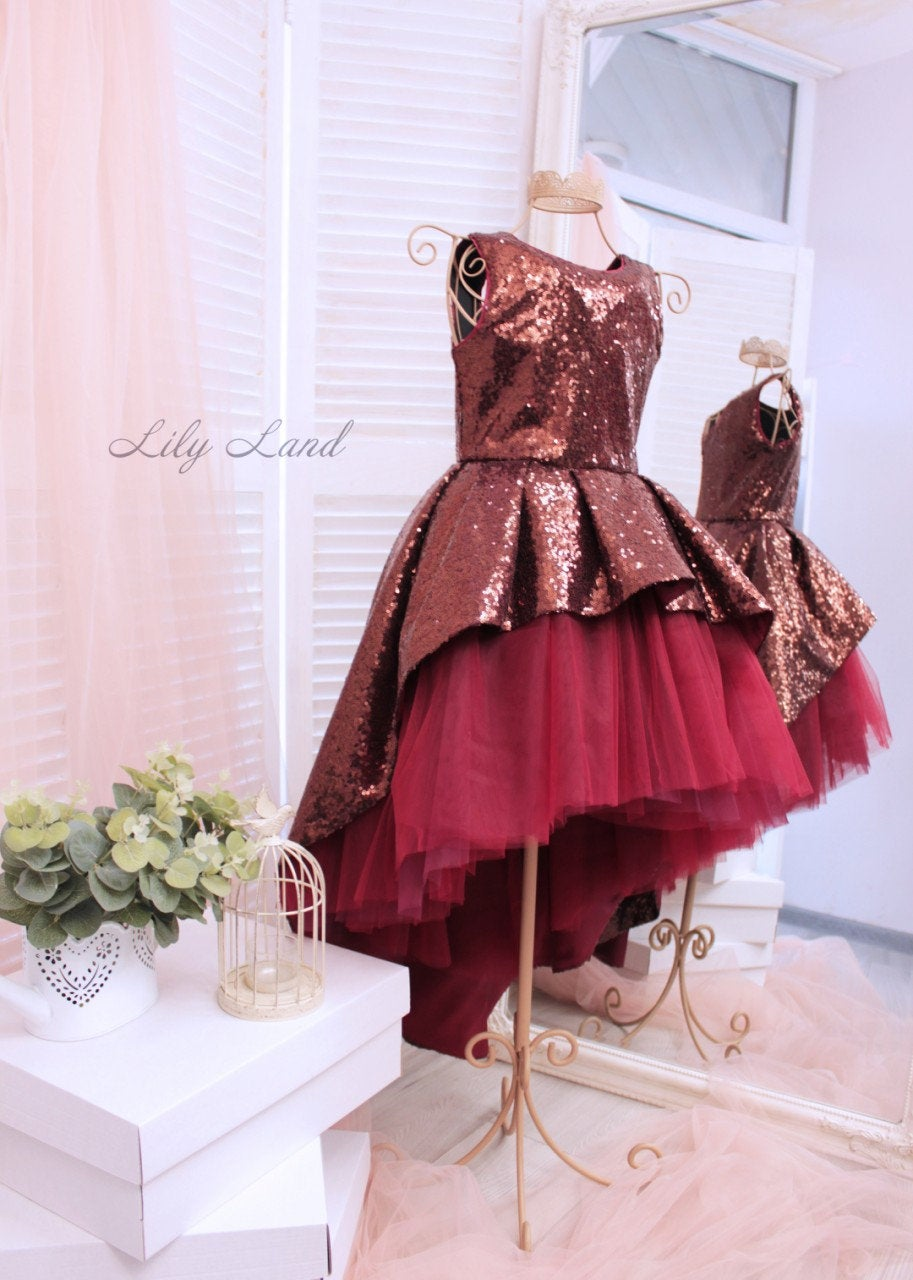 Burgundy Wedding Flower Girl Dress Junior Bridesmaid Dark Red With Sparkling Low High Girls Glitter