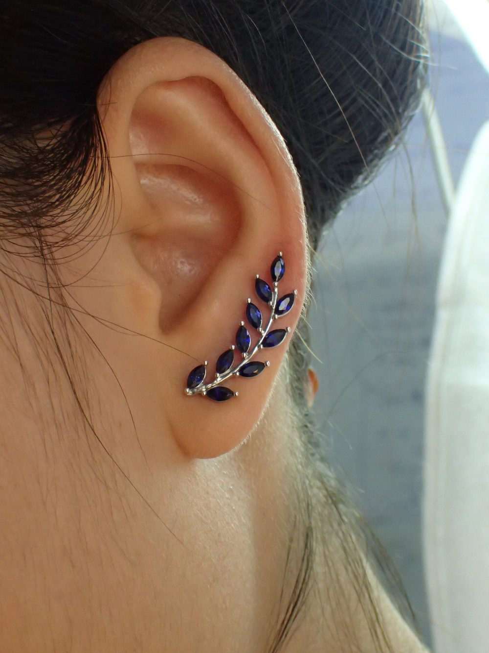 Blue Sapphire Earring Climber/Marquise Ear Crawlers Earrings Bridesmaid Gift Minimalist