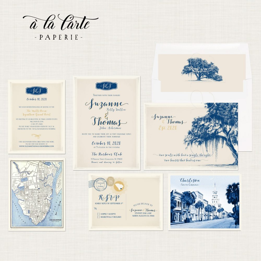 Destination Wedding Illustrated Invitation Charleston South Carolina Usa Vintage Oak Tree With Spanish Moss - Deposit Payment