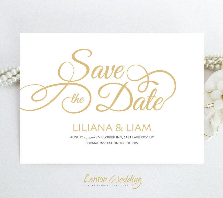 Printed | Custom Save The Date Wedding Cards Gold & White Elegant Save Date Invitations + Envelopes