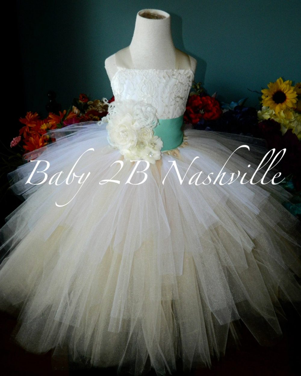Wedding Flower Girl Dress, Champagne Tulle Dress With Ivory Lace, Dress, Cream Tutu Aqua Sash & Flower Clip Included