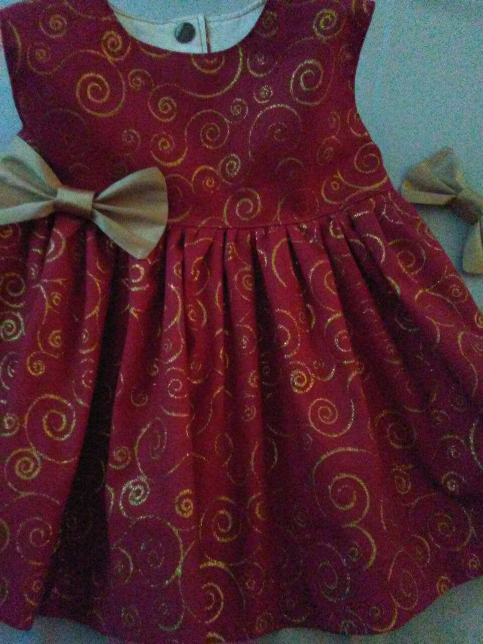 Christmas Dress Baby Toddler Girl Holiday Party Red Gold 6Mo To 4 Yr.old Sleeveless Or Flutter Babycutebaby.etsy.com