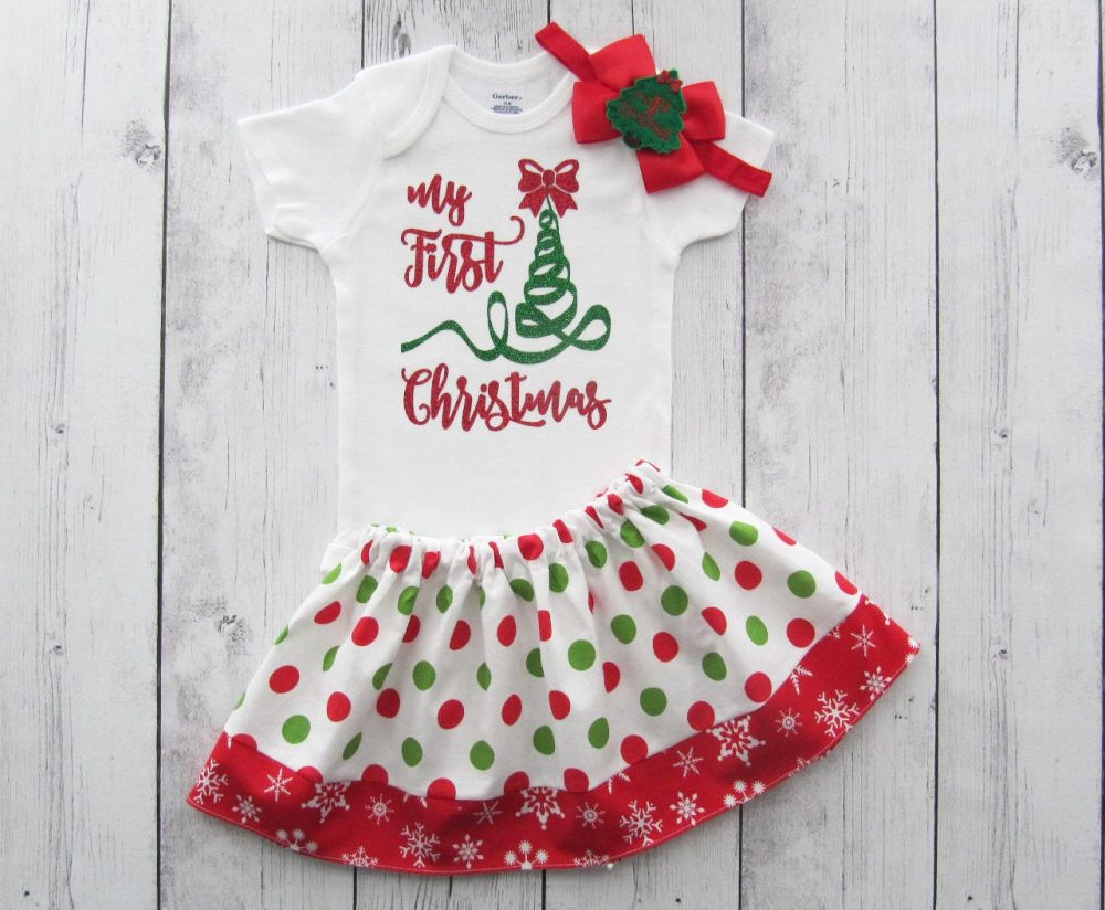 My First Christmas Outfit For Baby Girl - Holiday Outfit Baby Girl, Red & Green, Outfit, Girl Christmas Dress