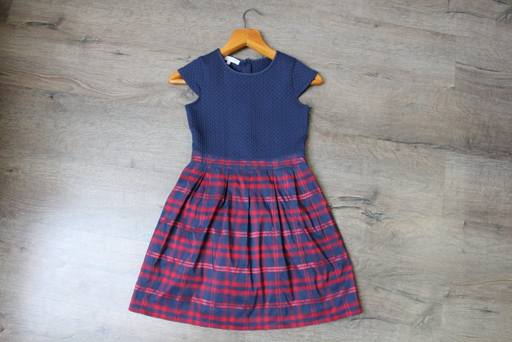 Vintage Girl's Dress, , Blue Red Girl's Plaid Dress, Holiday Season Christmas Party Girl 90Svintage Dress, Size Girls 10Y