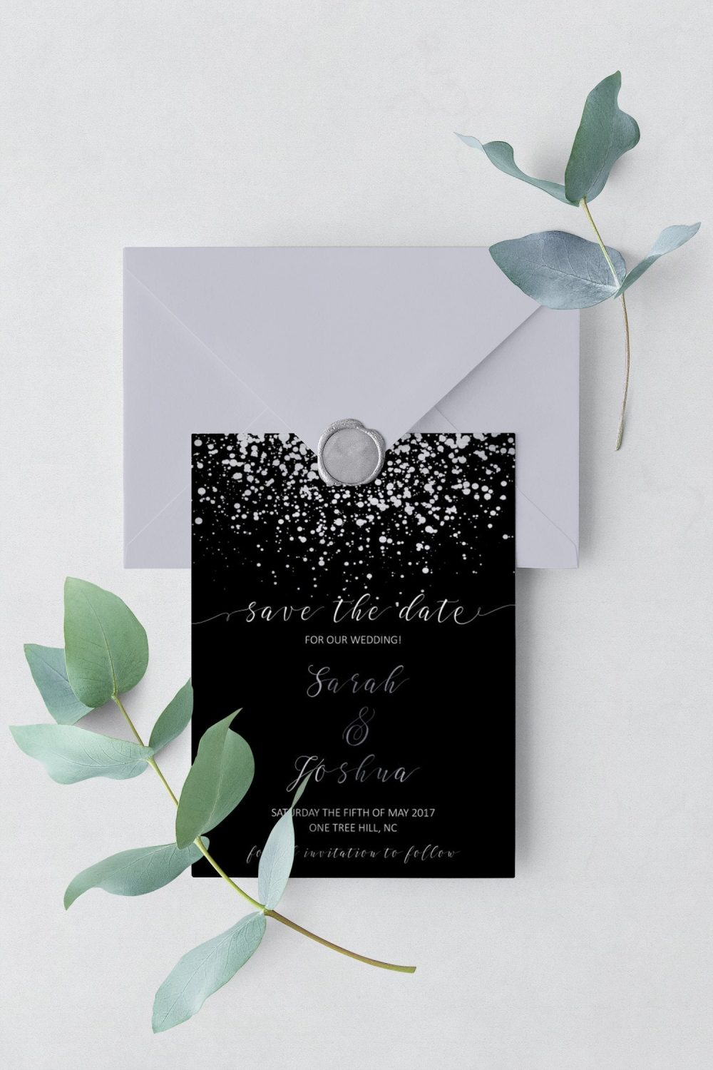 Black Wedding Invitations | Elegant Save The Date Card, Printable Cards, Silver & Invite, Winter