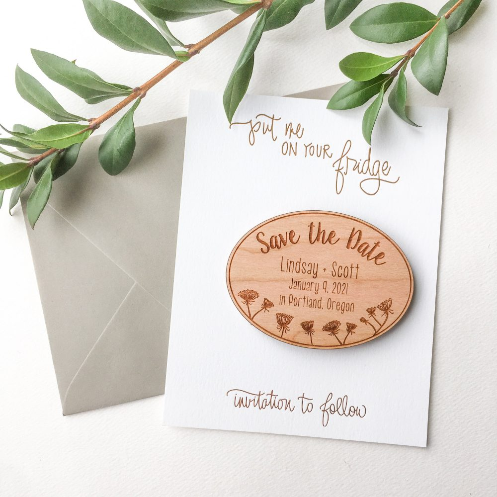 Queen Annes Lace Wood Save The Date Magnets - Save Date Invitations Custom Dates Floral