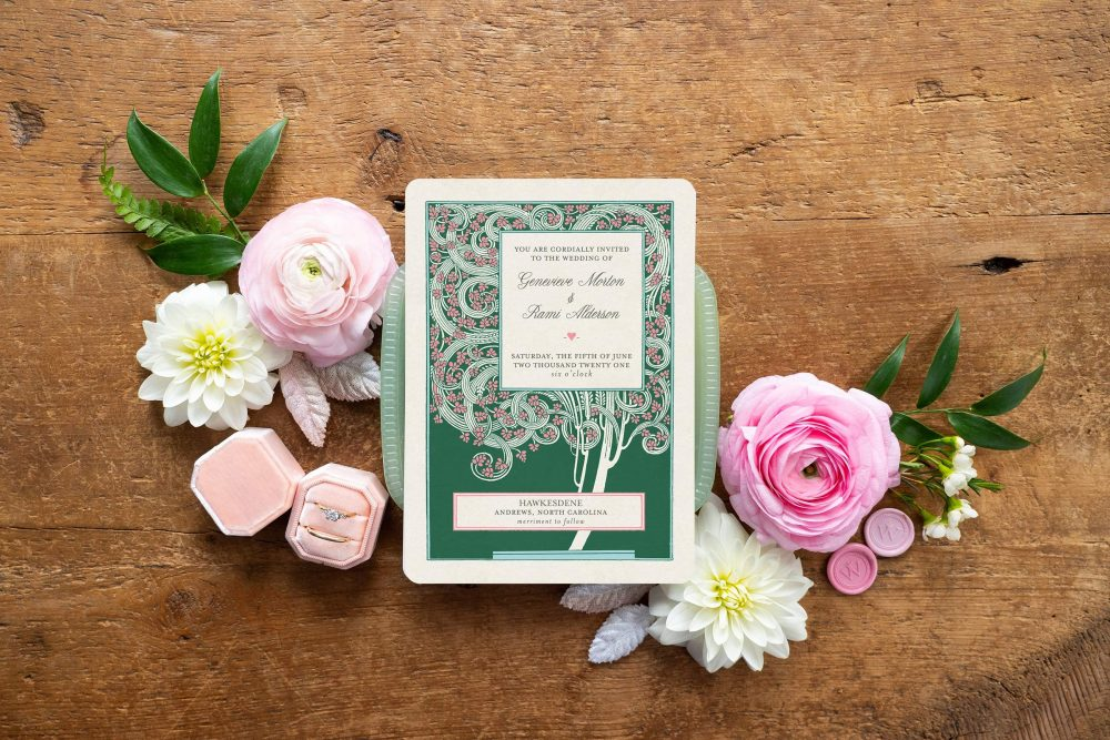 Vintage Garden Wedding Invitation, Magnolia Invitations, Pink & Green Theme, Southern Wedding, Tree Invite