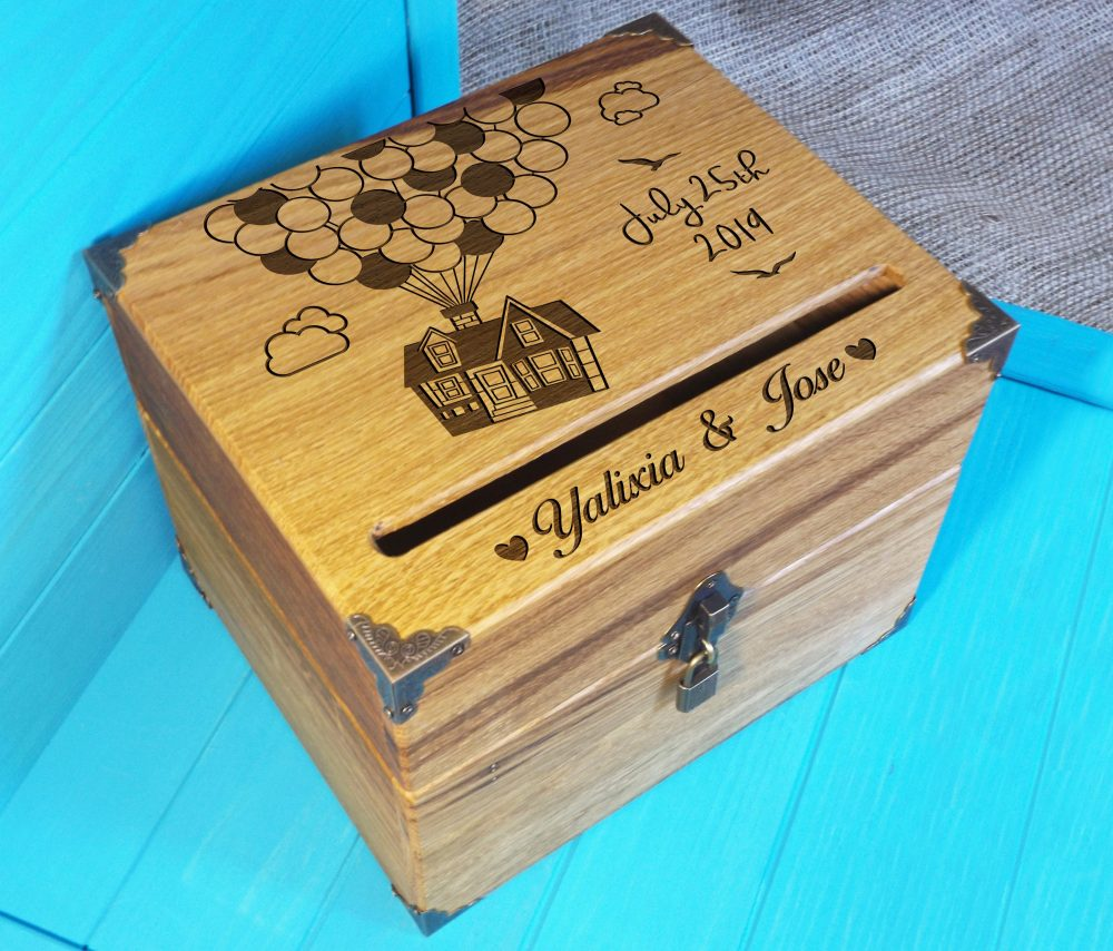 Shabby Chic Card Box - Balloon House From Up -Oak Wood Wedding Carl & Ellie Rustic Wood Wooden Ring