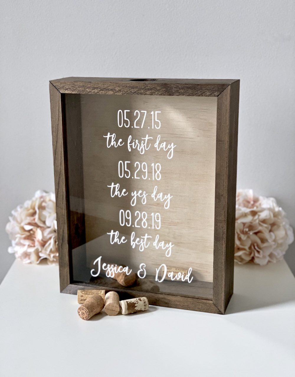 Wine Cork Holder | Guest Book Alternative Bridal Shower Gift Wedding Idea Shadow Box Display Holds Corks, Photos, Messages & More