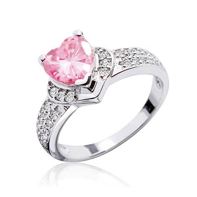 Pink CZ Heart Ring in Sterling Silver