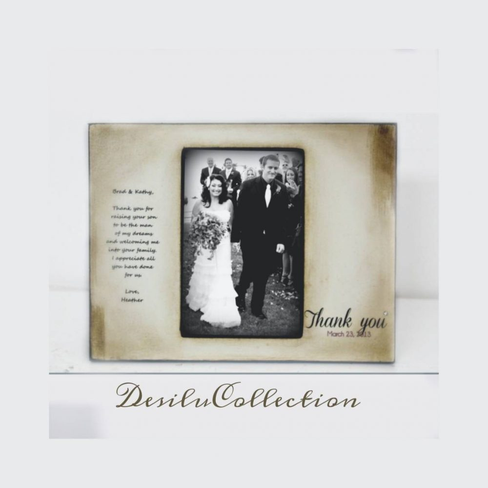Rustic Thank You Wedding Personalized Picture Frame, Parents Of The Groom, Gift From Bride & 4x6 5x7 Photo Frame, Wood