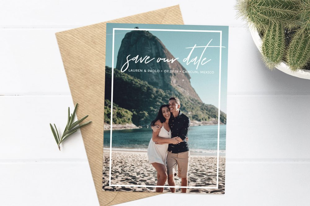 Save The Date, Retro Custom The Destination Wedding, Photo Date Prints, Vintage Border, Handwritten Style Font