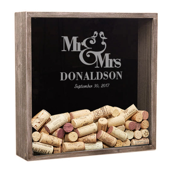 Wedding Shadow Box Guest Book, Wine Cork Holder, Personalized Box, Gifts For The Couple, Drop