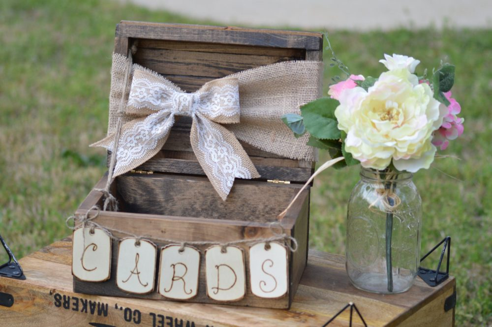 Burlap & Lace Wedding Card Box, Shabby Chic Country Reception