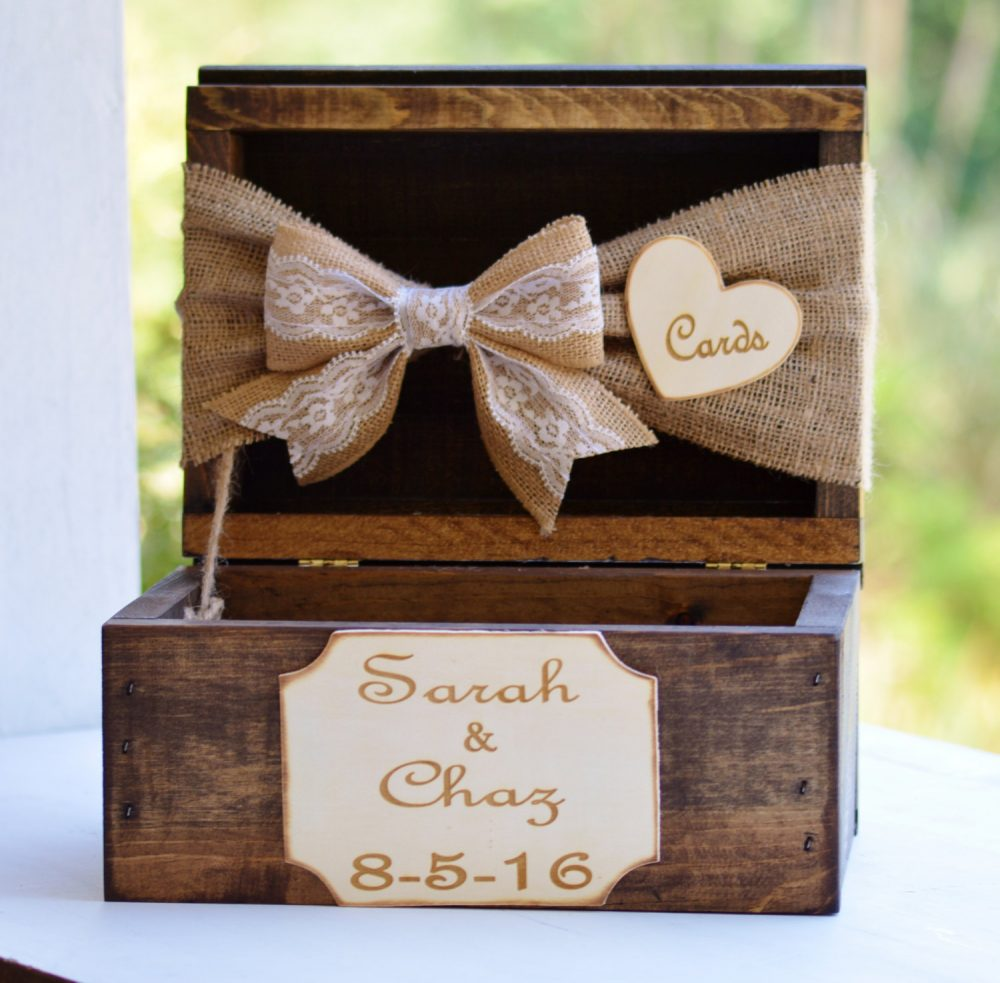 Burlap & Lace Card Box, Rustic Wedding Decor, Barn Reception Decor