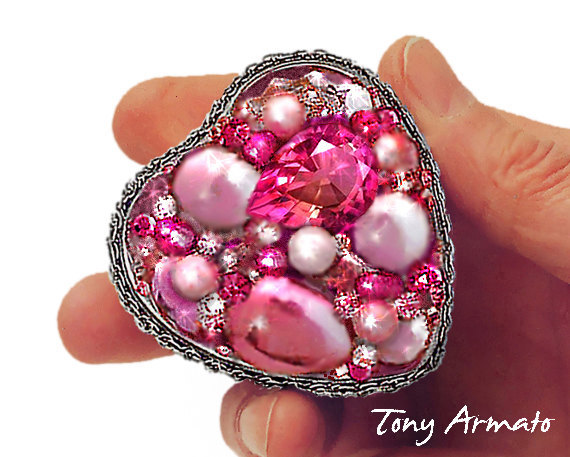 Pink Heart Shaped Jeweled Treasure Box • For Rings, Gifts, Stash & Trinkets A Limited Edition Piece Free Us Shipping + Gift Too