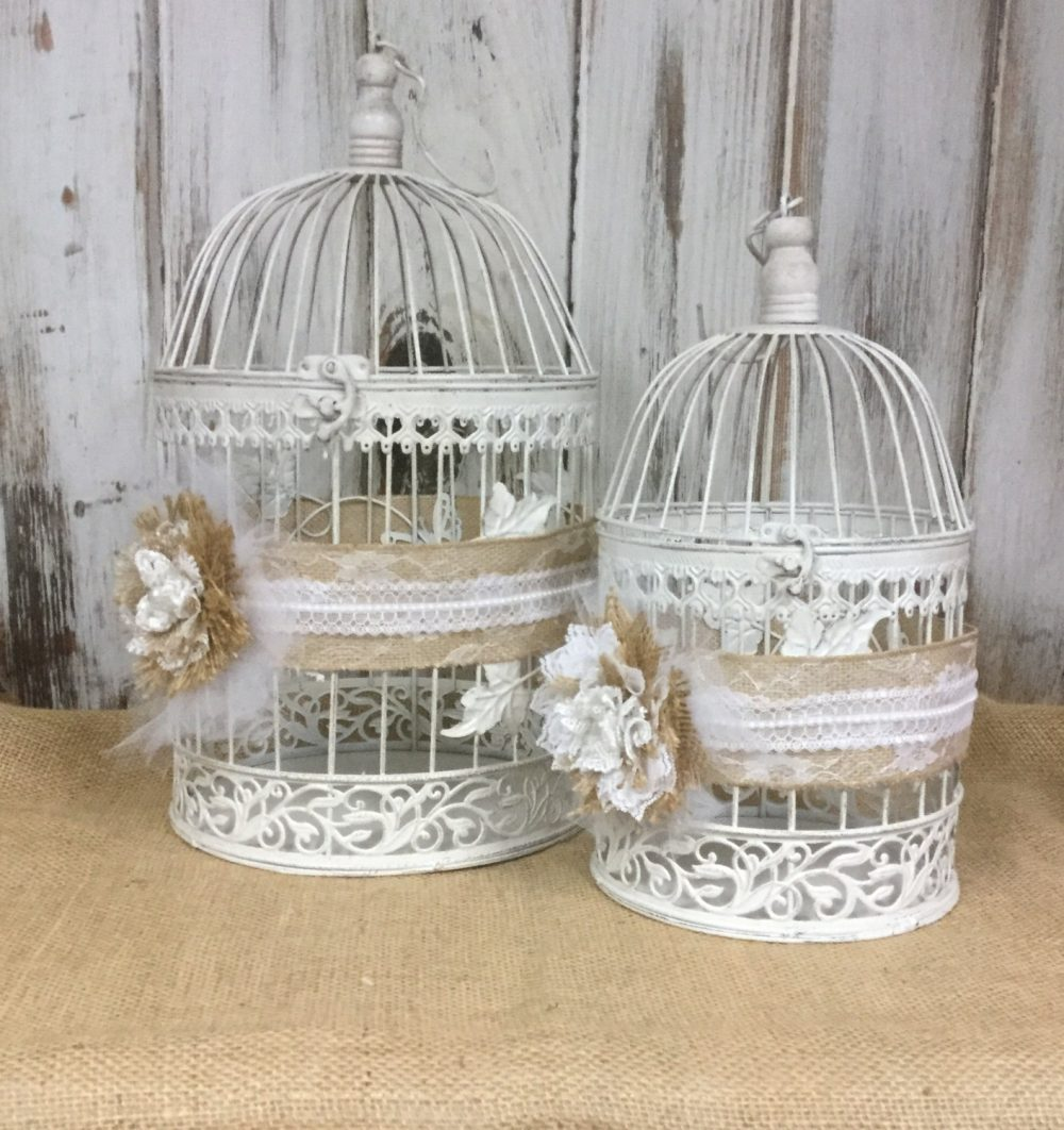 Wedding Card Holder-Card Box-Bird Cages=Handmade Shabby Chic Burlap & Lace Flowers-Rustic-Shower-Reception-Set Of 2-Wedding Decor