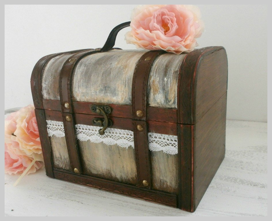 Wooden Rustic Card Box - Wedding Suitcase, Guest Box, Advice Shabby Chic Suitcase Holder Cards Sign Lace Flower Decor