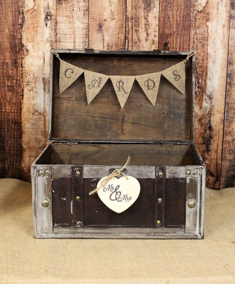 Wedding Card Box With Burlap Banner-Rustic Box-Shabby Chic Decor, Distressed Box, Reception Holder