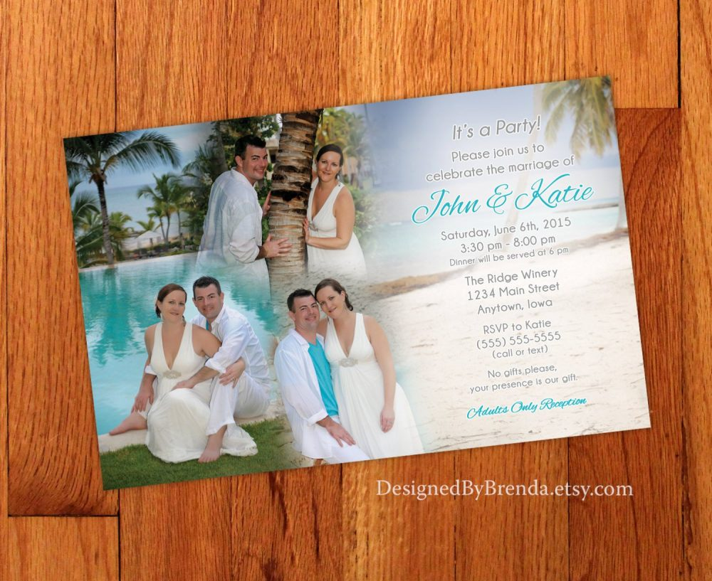 Blended Photo Collage Wedding Invitation - Large Size, Perfect For Destination Wedding Or Reception Only Invite Fun & Unique Custom