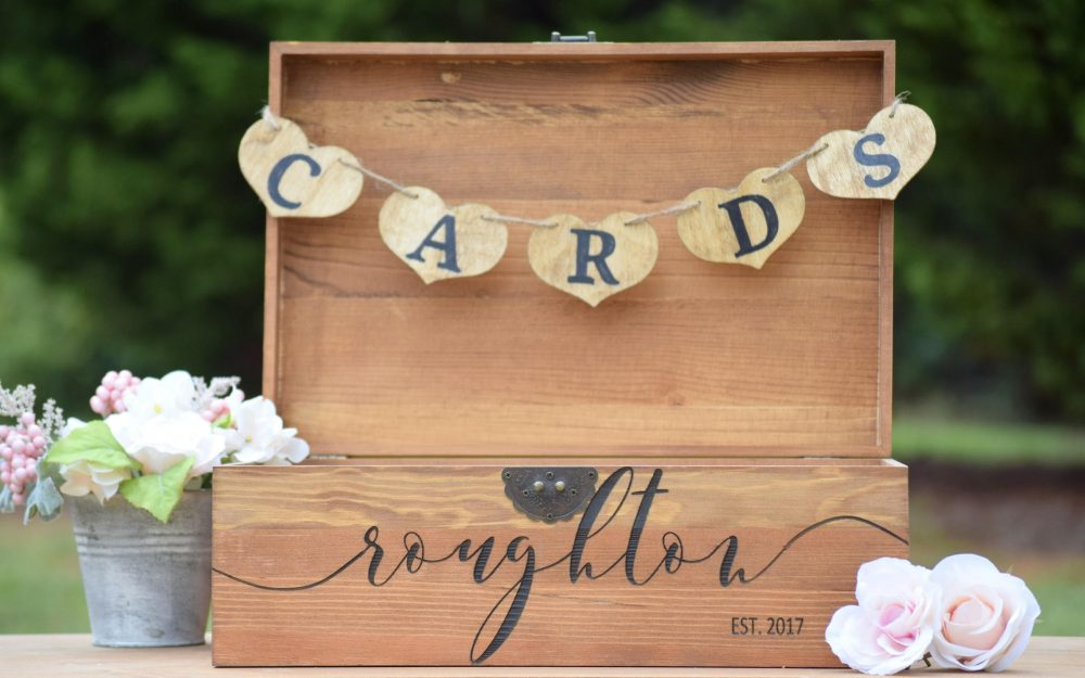 Shabby Chic Wedding- Rustic Wooden Card Box - Wedding Decor Large Holder Engraved