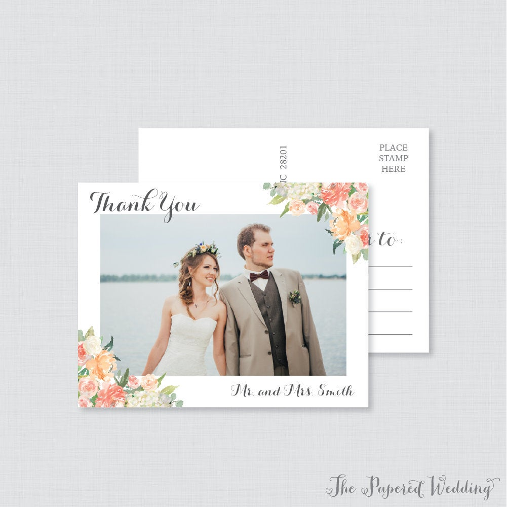 Printable Or Printed Photo Thank You Postcards - Peach Floral Picture For Wedding Post Cards 0009