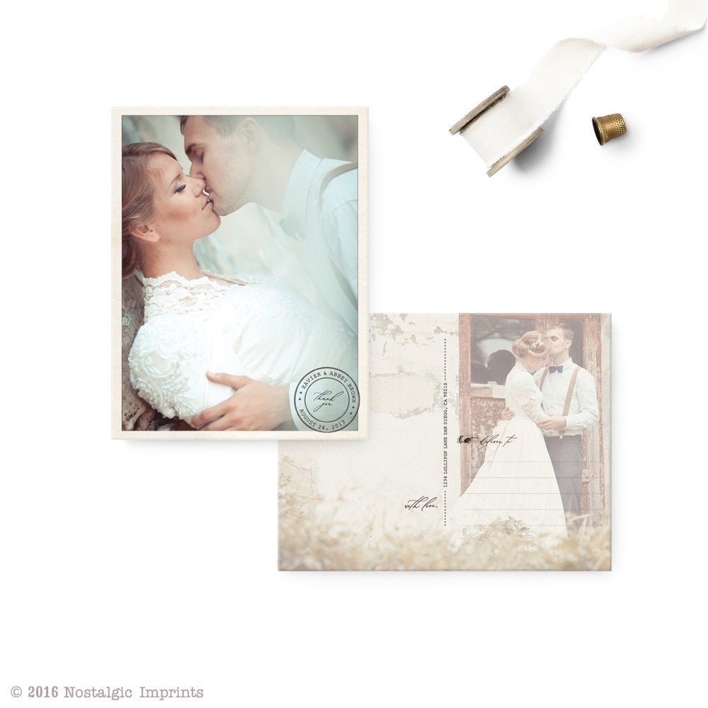 """Wedding Thank You Postcards, Thank Notes With Photo, Custom Personalized Picture Card - The """"Abbey 1"""""""