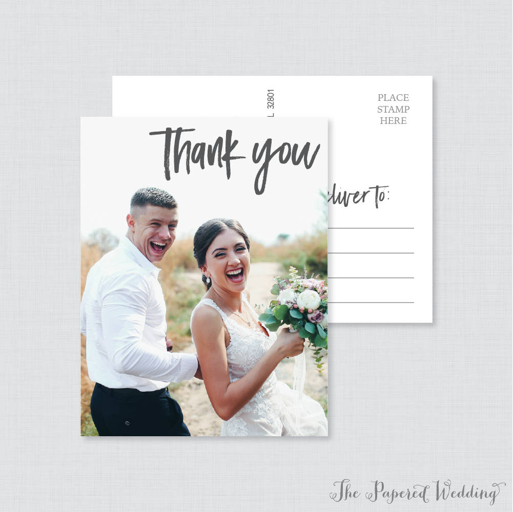Printable Or Printed Picture Thank You Postcards - Casual, Modern Photo For Wedding With 103