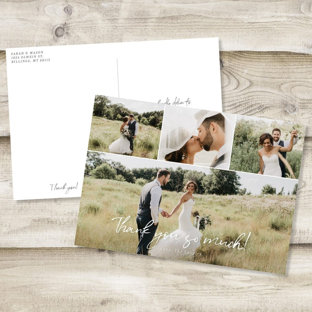 Wedding Thank You Cards Printable Card Template Custom Full Photo Collage Postcard Note Floral