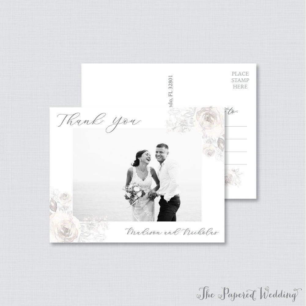 Printable Or Printed Photo Thank You Postcards - Gray Floral Picture For Wedding Sketched Grey Cream 0015
