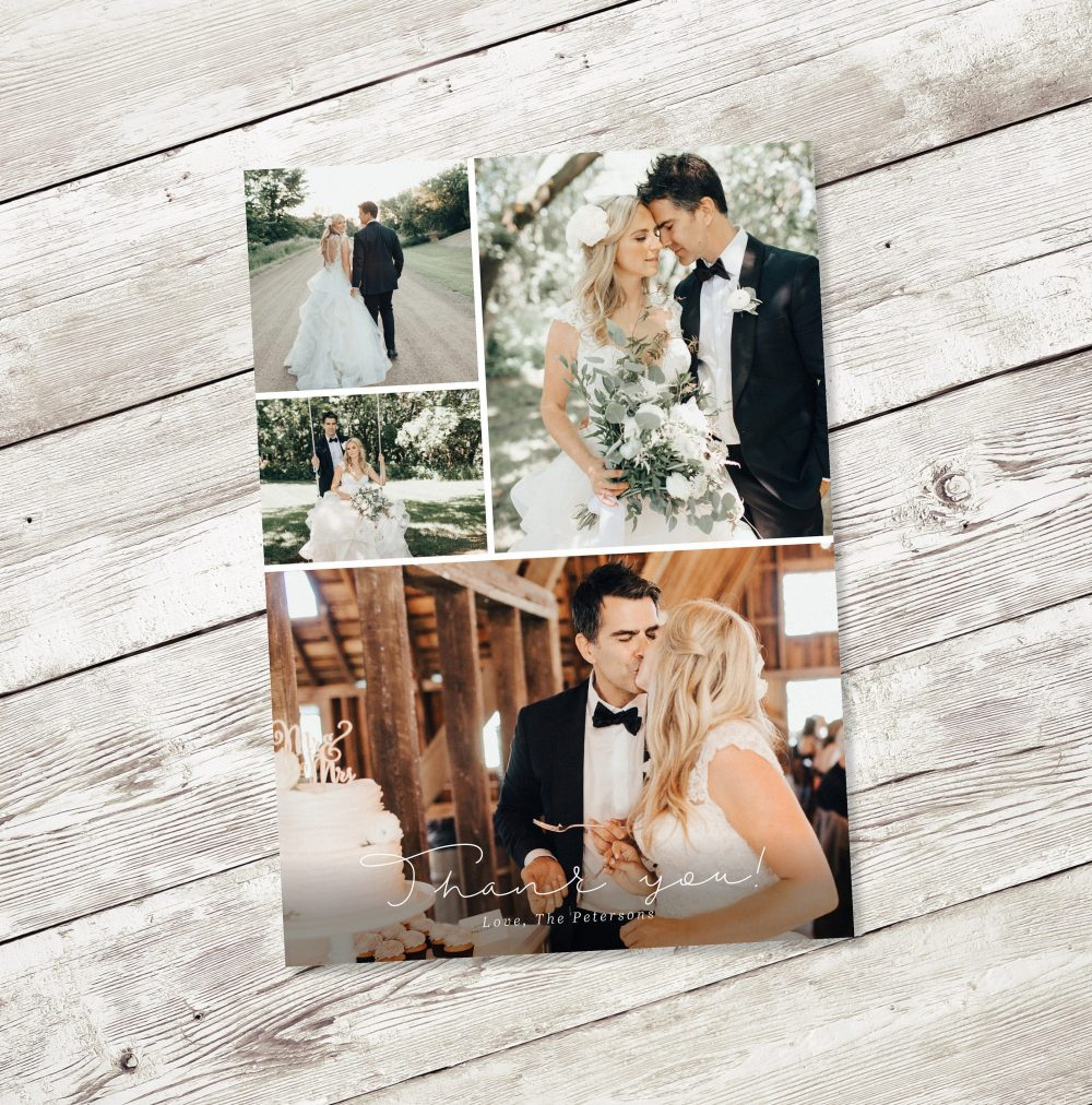 Wedding Thank You Cards Printable Card Template Custom Full Photo Collage Postcard Note Personalized