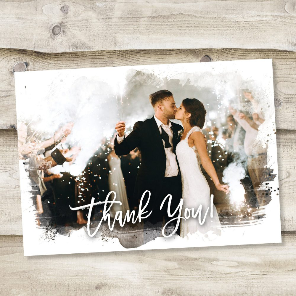 Wedding Thank You Cards Printable Card Template Custom Full Photo Collage Postcard Note Watercolor Image