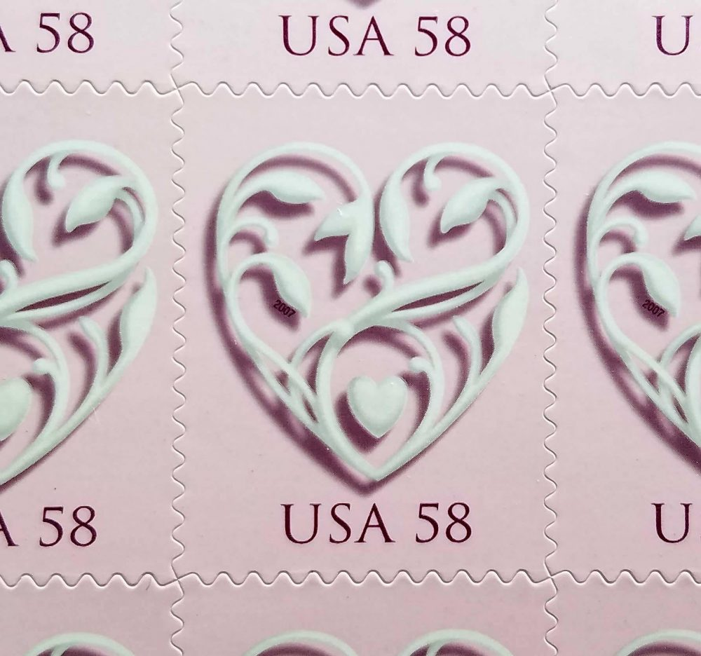 Five | 5 Unused Wedding Postage Stamps - Pink Heart // 58 Cent Face Value 2.90