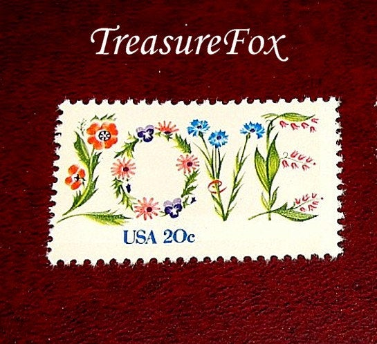 20C Floral Love Stamp .. Set Of 50 Unused Vintage Postage Stamps Love in Flowers, Wedding Postage, Rsvps, Save The Dates & Thank Yous