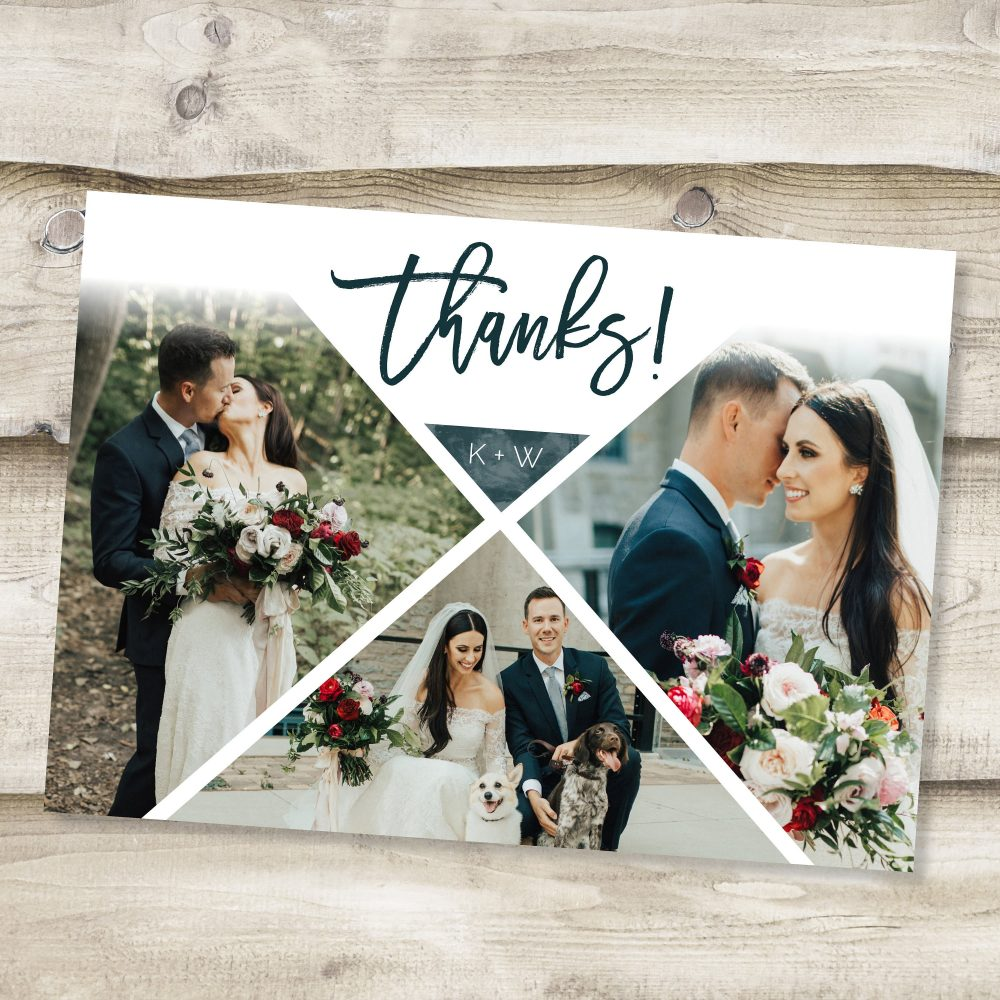 Wedding Thank You Cards Printable Card Template Custom Full Photo Collage Postcard Note Hexagon Triangle