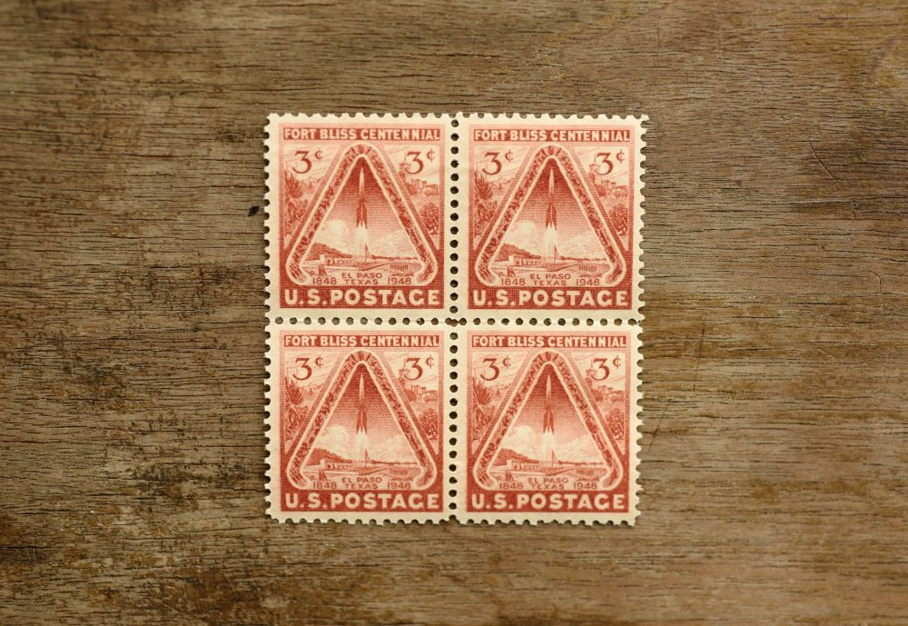 8 Fort Bliss Postage Stamps // Unused Set Of Orange Brown 3 Cent Stamp Wedding Postage Vintage Texas
