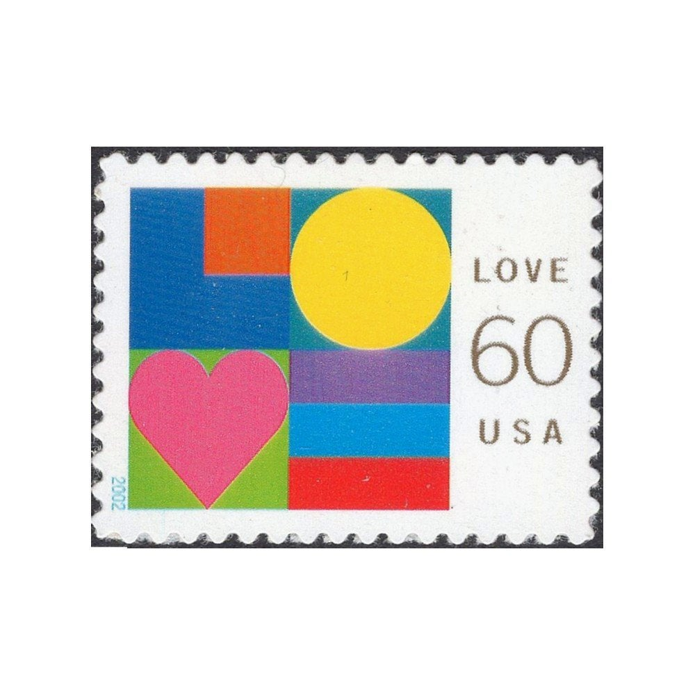 Five 60C Modern Abstract Love Stamps .. Unused Us Postage | Wedding Postage Love Stamp Psychedelic Art Self-Sticking