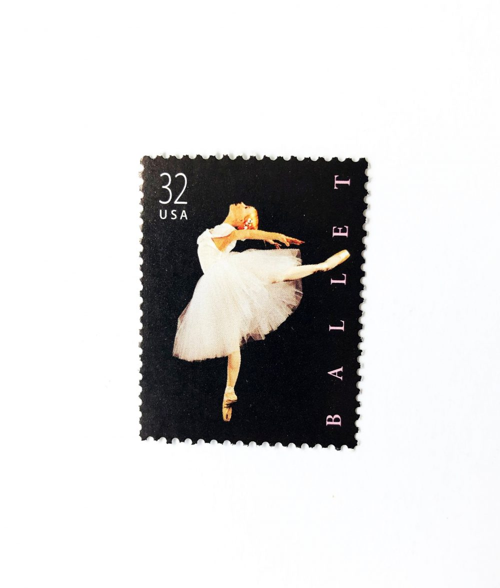 10 American Ballet Postage Stamps // Unused 32 Cent Stamp Modern Postage Wedding Black Pink