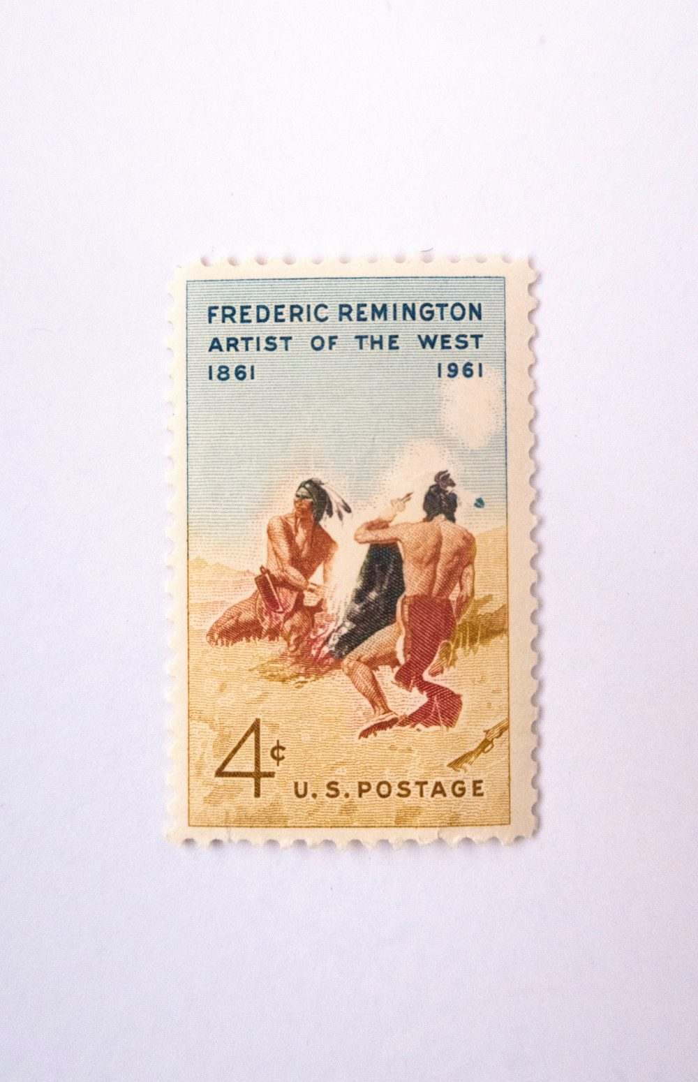10//Unused//Frederic Remington//Artist Of The West//4 Cent//Vintage Postage//Wedding Postage//Western
