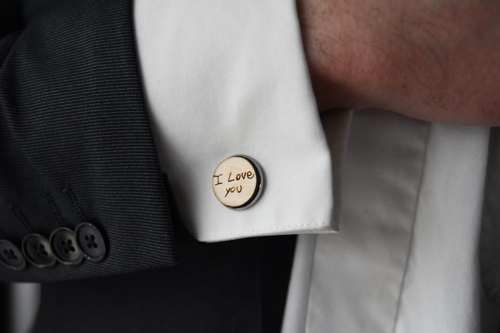 Your Handwriting Personalized Wood Engraved Cufflinks For Father Of The Bride | Groom Anniversary Custom Wedding