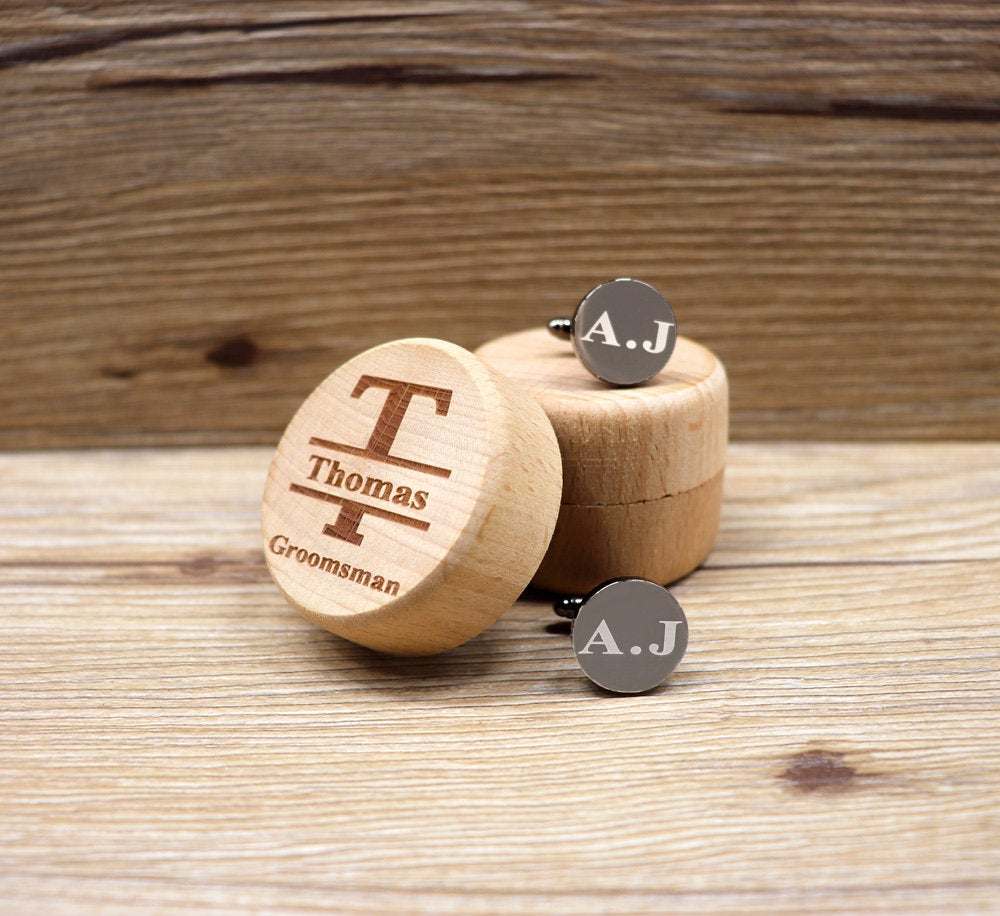 Personalized Cufflink Groomsmen Gift Cufflinks For Groom Wedding For Father Of The Engraved Mens Box Husband